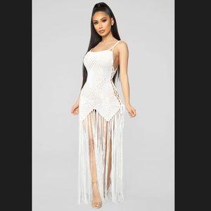 FASHION NOVA - MIA CROCHET DRESS - WHITE - NWT